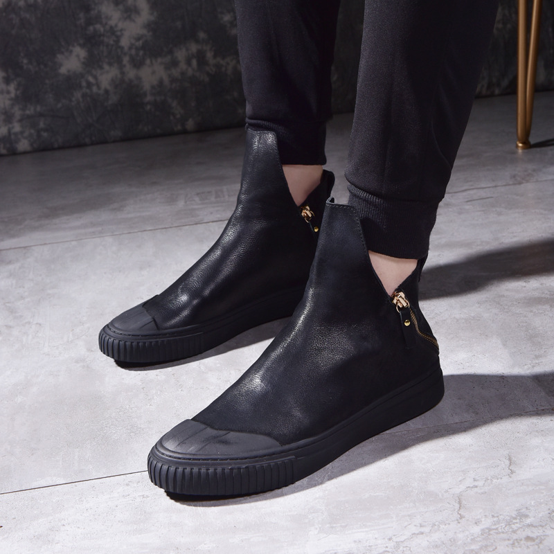 Brand Men Boots Top Quality Handsome Comfortable Retro Leather Autumn Winter Boots Male Cowhide Zipper Matte Leather Shoes Mens