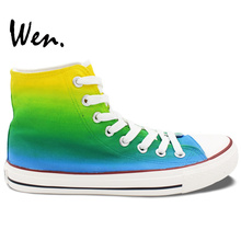 Wen Original Hand Painted Shoes Design Custom Gradual Change of Color Men Women's High Top Canvas Sneakers for Gifts