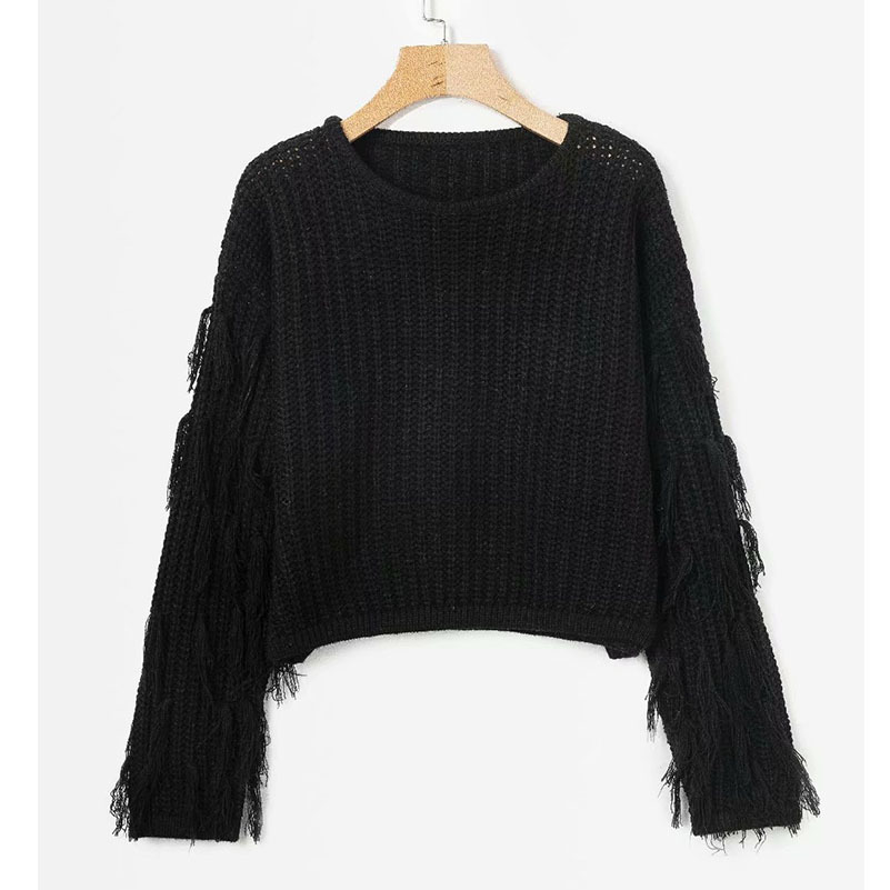 Top Women Fringe Knitted gules Sleeve Sweater Muxu Long And green Mujer Pullovers Femme Crop Knitwear Sweaters Chompa Black khaki Abrigo EXz4dwq
