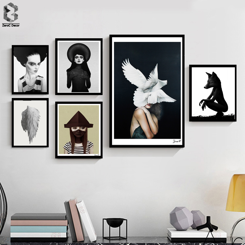 Cuadros affischer och tryck Black White Wall Art Canvas Painting Pictures för vardagsrum Nordic Girl Dark Home Decoration