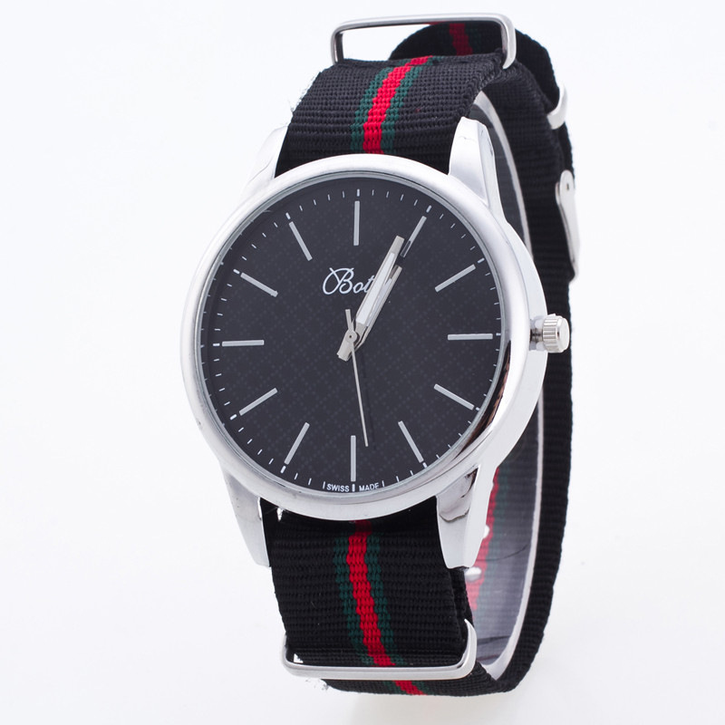 2017 Fashion Black White Sport Nylon Band Quartz Wristwatches Wrist Watch for Men Women Lovers Couple