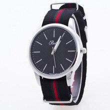 2017 Fashion Black White Sport Nylon Band Quartz Wristwatches Wrist Watch for Men Women Lovers Couple Silver OP001
