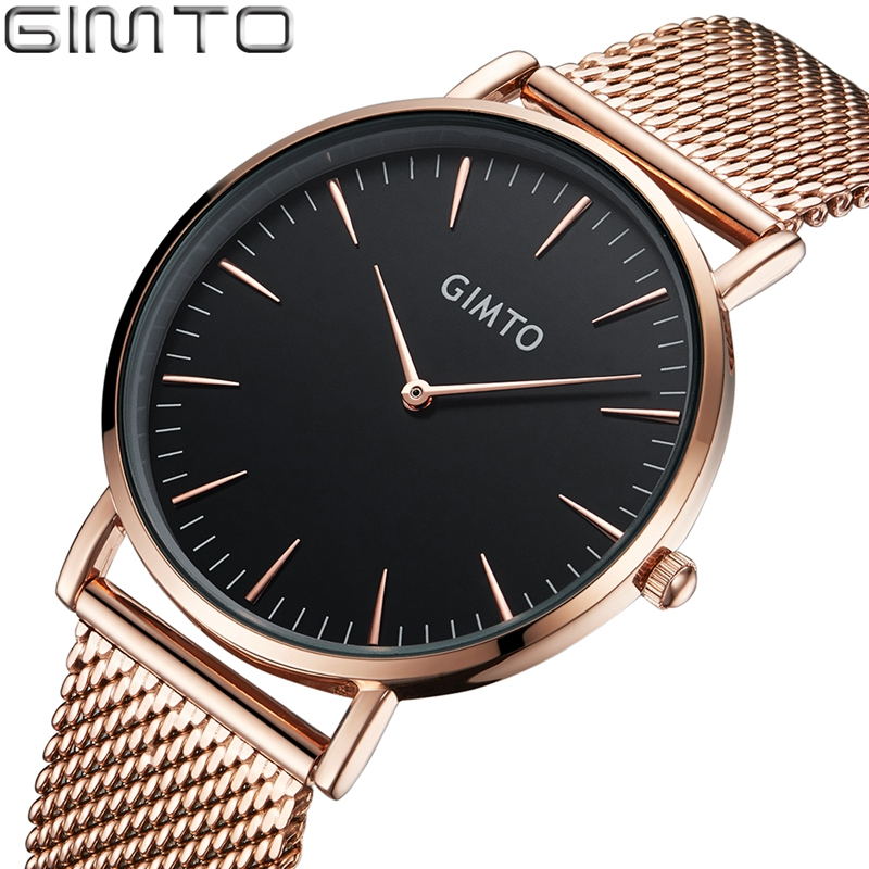 GIMTO Men Watches 2017 Brand Luxury Fashion Quartz Male Watch  Clock Rose Gold Dress Casual Relogio Masculino reloj hombre GM33