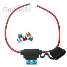 1 pcs Waterproof Car Auto Standard Blade Fuse holder and 10 fuses 5A 10A 15A 20A 30A each 2  In Line