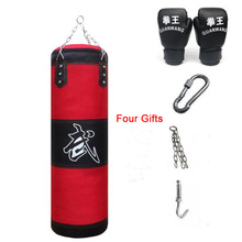 цена на 120cm Training Fitness MMA Boxing Punching Sandbag Indoor Pressure Relief with Muay Thai Boxing Gloves Hook Chain four Accessory