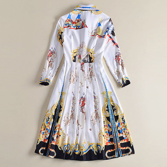 Retro Crimp Bow Indian Buttoning Runway Dress