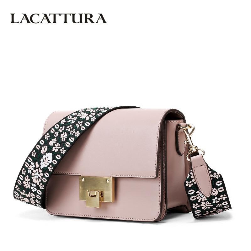 LACATTURA роскошь небольшой Сумки Для женщин клапаном сумка дизайнер сцепления портмоне Crossbody сумки для леди цветок тканый ремень