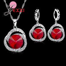 Vintage 925 Sterling Silver Red Crystal Cubic Zirconia Women Bridal Wedding Jewelry Sets Accessory Necklace Earrings Set(China)