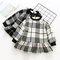 Everweekend Kids Girls Sweet Plaid Princess Western Dress Winter Fleece Ruffles Lovely Baby Dress Fashion New