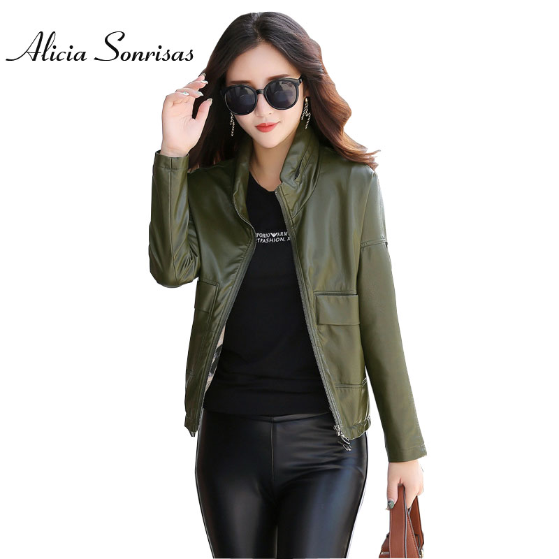 Plus Size Hidden Hooded Fashion Faux Black   Leather   Jacket Women Washed PU Adjustable Hem Green Jackets Two Big Pockets AS6721