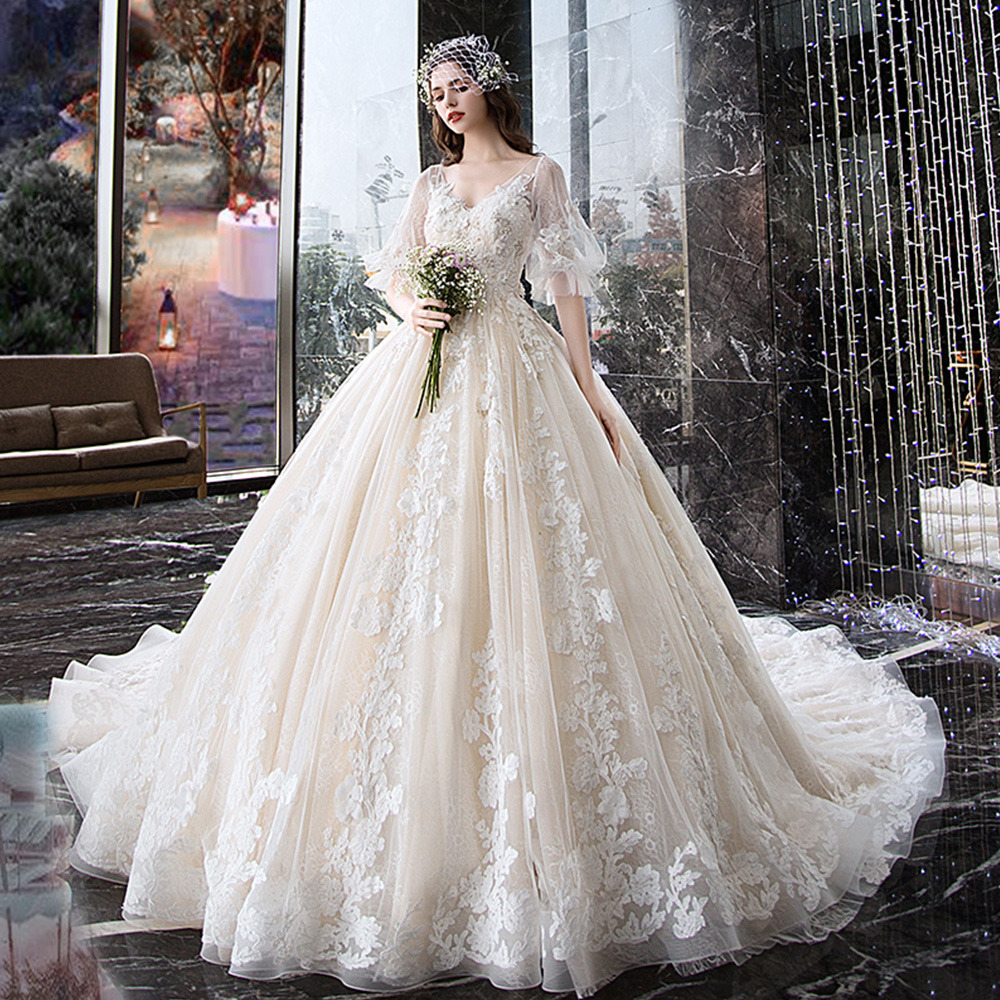 7a6abb0c4c9f2 Amazing Backless Princess Ball Gown Wedding Dress V neck Full Sleeve ...