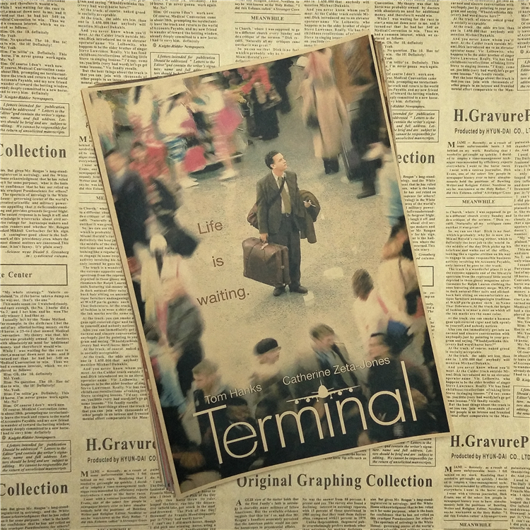 The Terminal Tom Hanks Classic core Movie Kraft Paper Poster Bar Cafe Living Room Dining room Wall Vintage Decorative Paintings