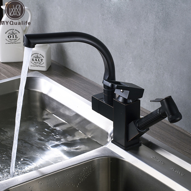Deck Mount Kitchen Sink Mixer Faucet Pull Out Washing Kitchen Taps with Hot Cold Water Brushed Nickel Pull Down Shower Sprayer