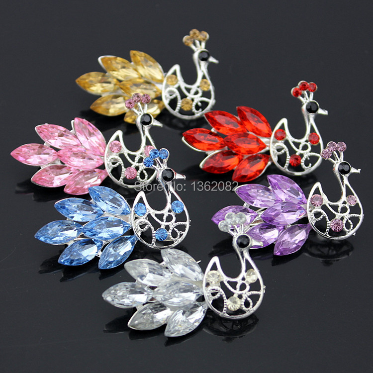 Stylish Crystal Rhinestone Peacock Brooch Pins Girl Women's Jewelry 3.3*4.6cm Crystal Brooch XZ04