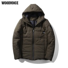 Woodvoice 2017 Winter Men's Jacket Casual Mens Coats Plus Size Thick Hooded Parka Men Fashion Warm Outwear Solid Three Colors