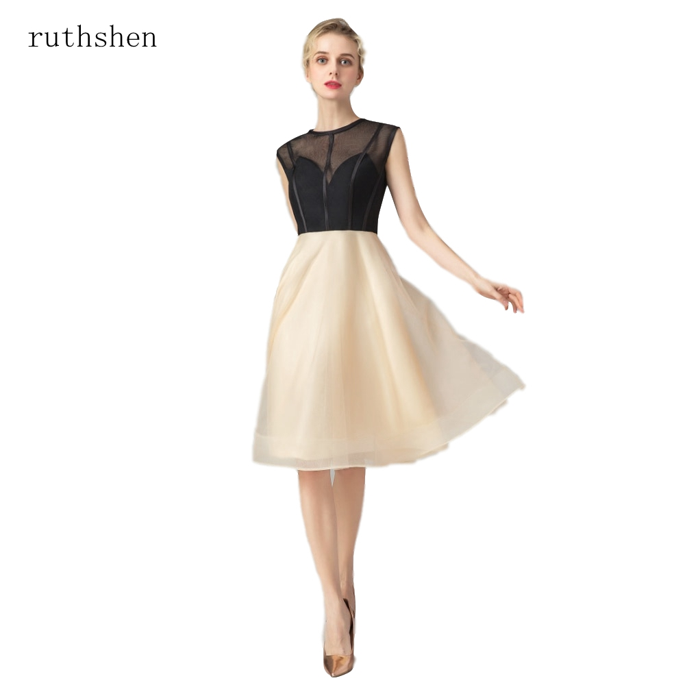 ruthshen Organza   Cocktail     Dresses   Sashes Cocktai Gowns Short Tea Length aline Gown See Through Party Prom   Dress   robe de   cocktail