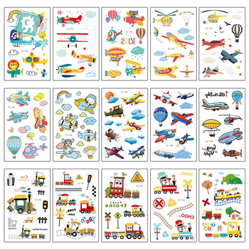 Rocooart Kids Tattoo Vehicle Fake Tattoo For Children Body Art Temporary Tattoo Sticker Airplane Balloon Taty Hand Tatouage
