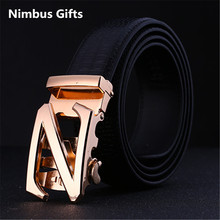 Belt logo brand Z automaitc buckle Male genuine leather strap commercial 100-120cm for men famous brand luxury high quality