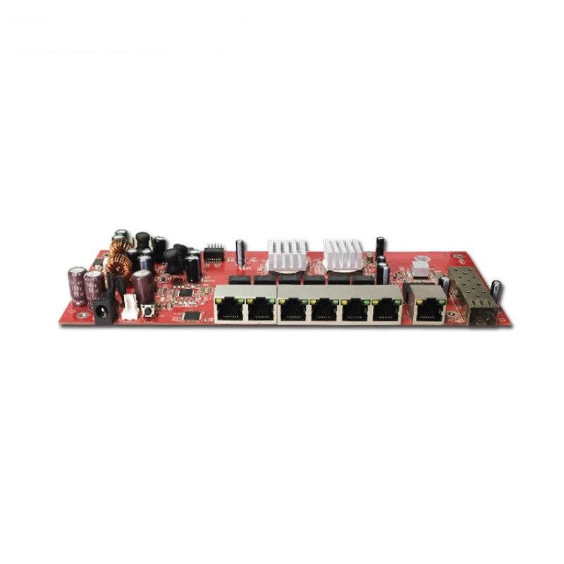 Commutateur de PoE de Fiber d'oem/ODM 48 V 8 ports 10/100 Mbps carte de circuit imprimé de commutateur de poe pour le téléphone IP, antenne extérieure de wifi d'appareil-photo d'ip