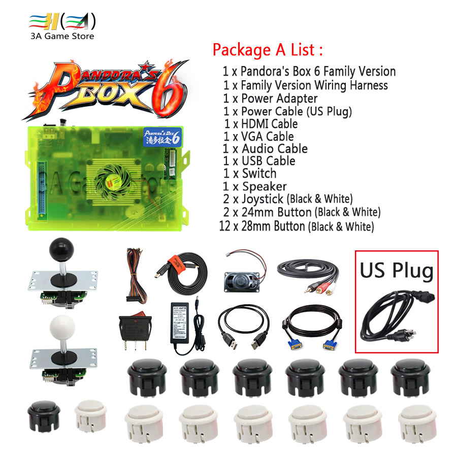 pandora box 6 1300 in 1 family version joystick button and wire harness diy arcade controller accessories usb hdmi vga output [ 900 x 900 Pixel ]