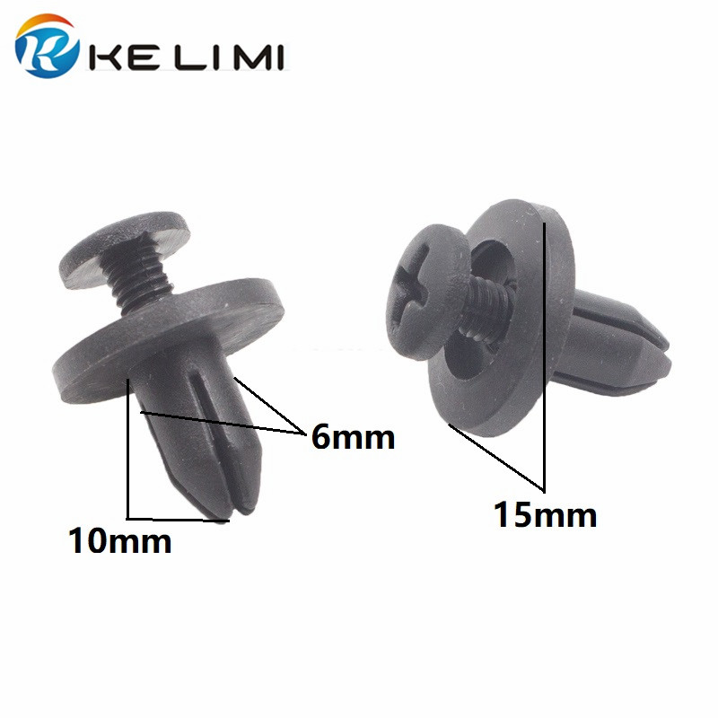 uxcell 100 Pcs Black Plastic Rivets Fastener Bumper Push Pin Clips for Auto