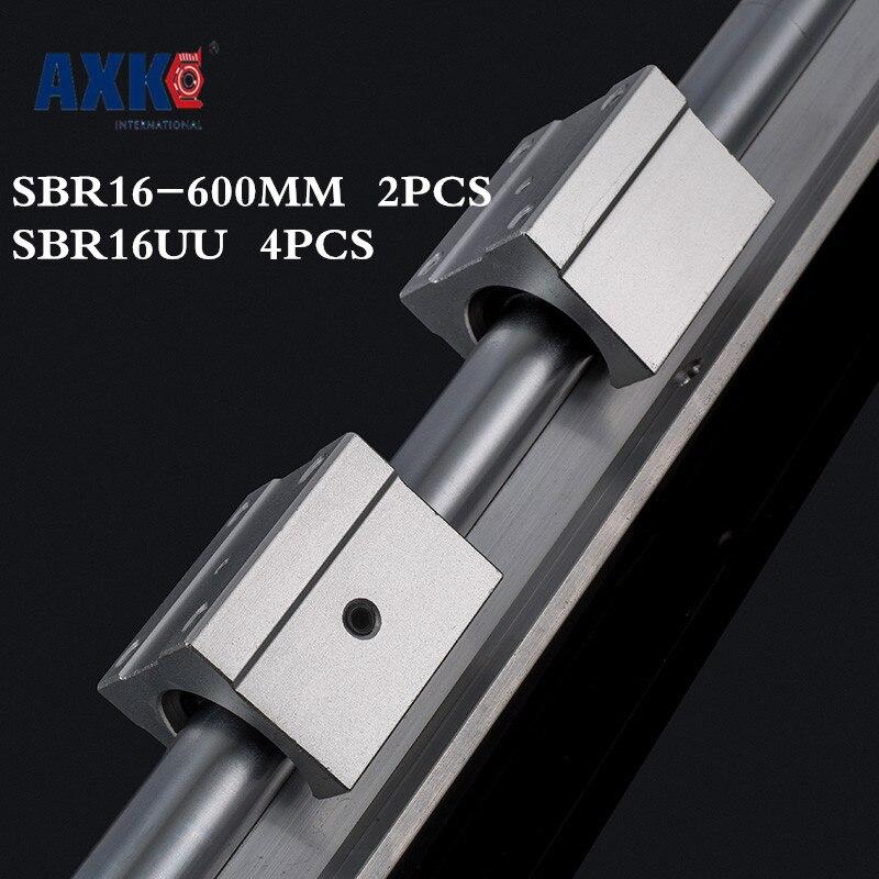Axk meilleur prix! 2 pièces Sbr16 Rail L600mm 16mm Linéaire Guide CNC Partie Routeur Rail Linéaire 4 pièces Sbr16uu Blocs