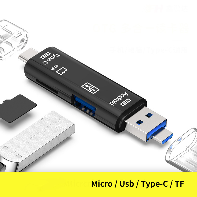 3 In 1 Type-c Micro USB OTG Card Reader Flash Drive High-speed USB2.0 Universal TF/SD Card for Phone Computer Extension Headers