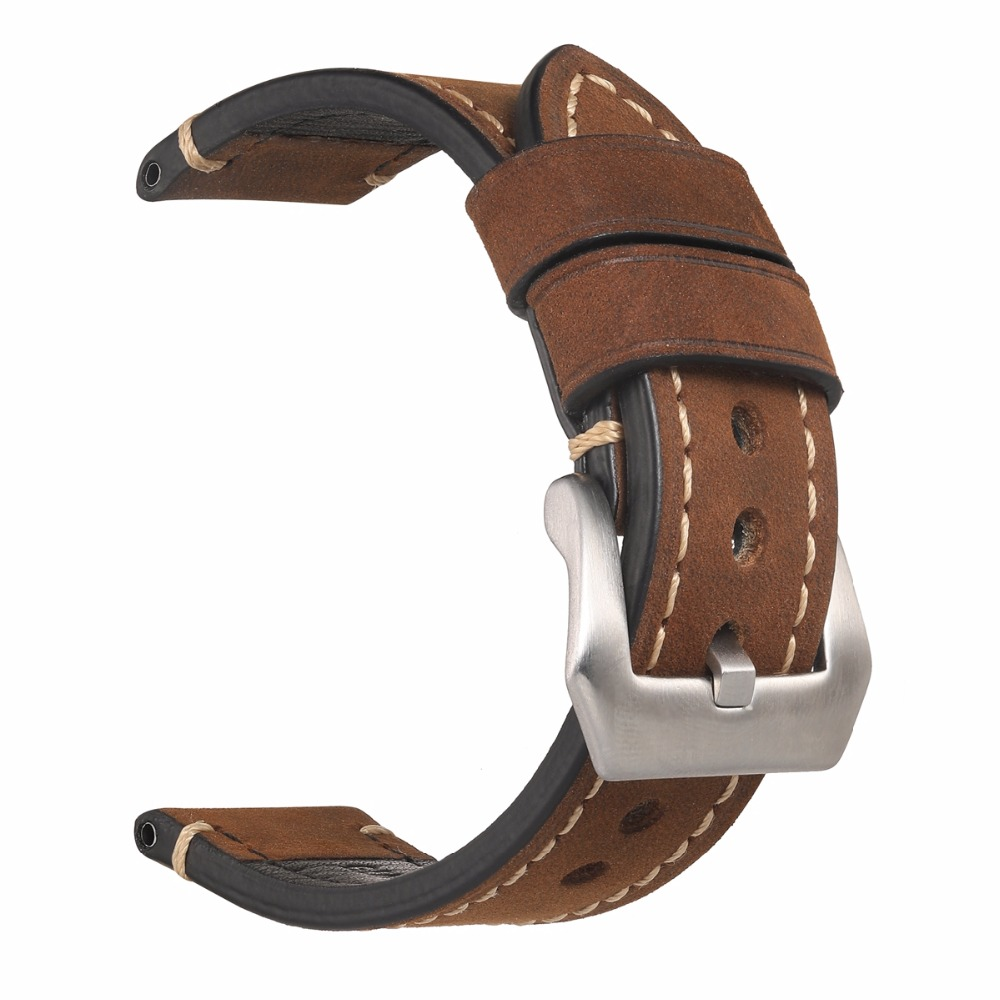 Handmade Retro Echtes Leder Uhrenarmband-bügel für P Uhr 20mm 22mm 24mm 26mm Mit Silber edelstahl Schnallen