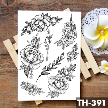 Geometric Flower Rose Eye Leaves Waterproof Temporary Tattoo Sticker Diamond Peony Black Tattoos Body Art Arm Fake Tatoo 1
