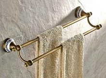 Antique Brass Wall Mounted Ceramic base Double Towel Rail Holder Rack Bathroom Accessories Towel bar, Towel holder Kba407 high quality bathroom towel holder with ceramic base brass towel rack 60cm towel shelf
