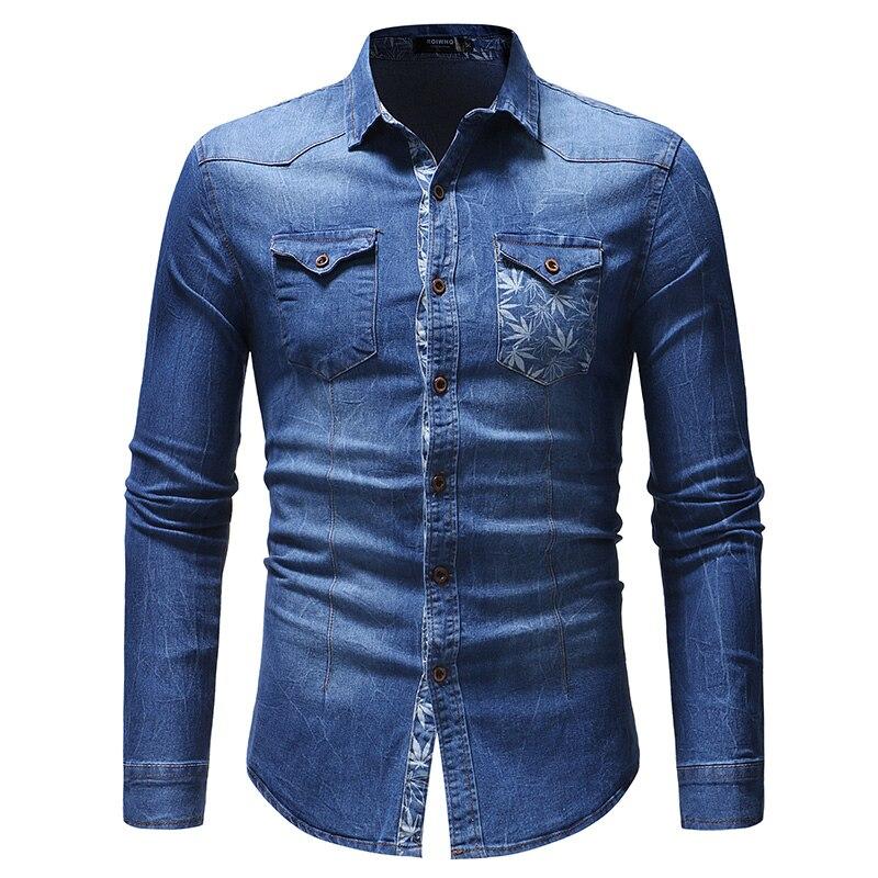 2018 New Jeans Shirt Men Long Sleeve High quality Printing Mens Shirt Pure Cotton Breathable Denim Shirt Casual Plus Size 3XL
