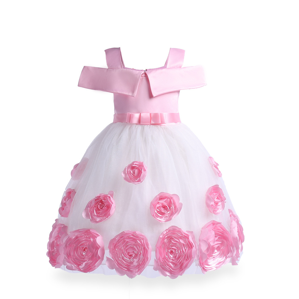 Children Girl Clothes Beautiful Lace Gown Dresses for Girls Kid's Clothing Rose Embroidered Princess Dress  New Year Party Dress summer 2017 new girl dress baby princess dresses flower girls dresses for party and wedding kids children clothing 4 6 8 10 year