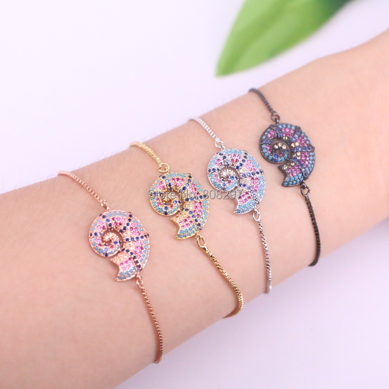 10Pcs Micro pave setting CZ Snail Adjustable Bracelets for Women Fashion Jewelry