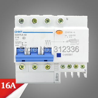 ФОТО Free Shipping Two years Warranty  DZ47LE-32 C16 3P+N 16A  3 pole ELCB RCD earth leakage circuit breaker  residual current