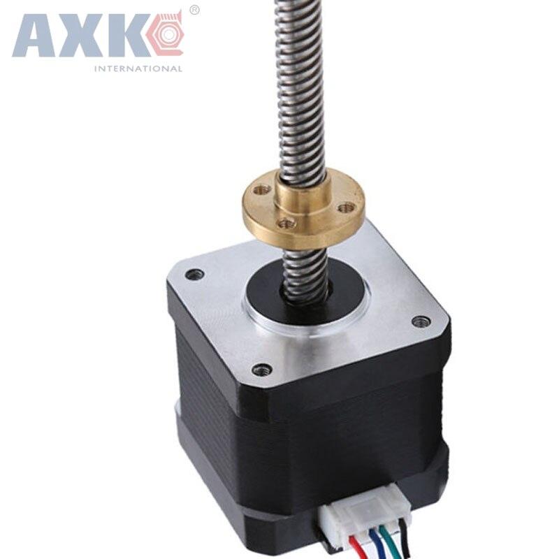 AXK Stepper motor 42 2 PHASE 4-lead Nema17 motor 300mm T8 linear wire rod 40mm 1.7A 0.45N.M LOW NOISE motor threaded nema17 stepper w 460mm tr8 12 leadscrew acme leadscrew threaded rod nema17 stepper motor
