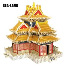 Diy Montessori Education Kids Toys Wooden 3D Puzzle For Children Turret of Palace Museum Challenge Wisdom A Hobby Gift Adult
