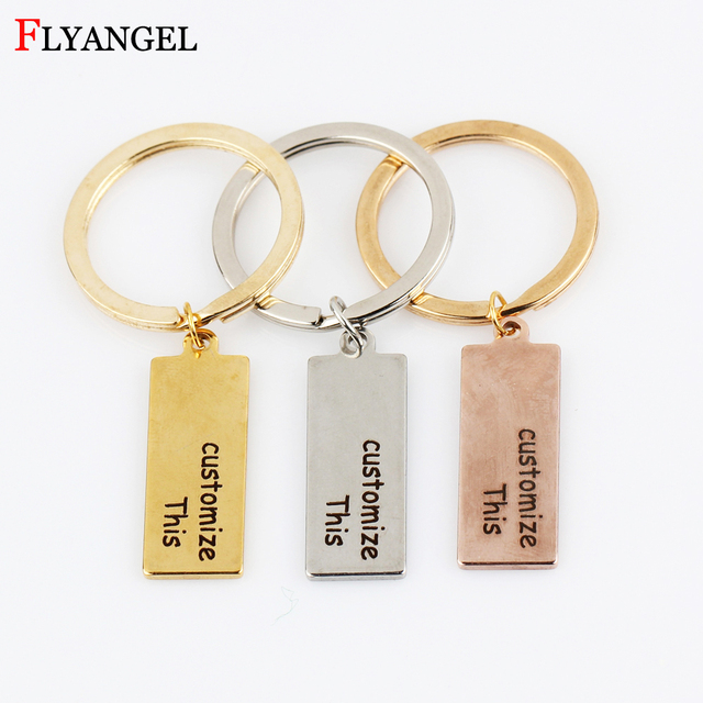Customized Personal 1pcs Engraved Keychain Text Letter Key Chains DIY Gift  for Women Men Family Friends Couples Keyring Jewelry 31c192204d