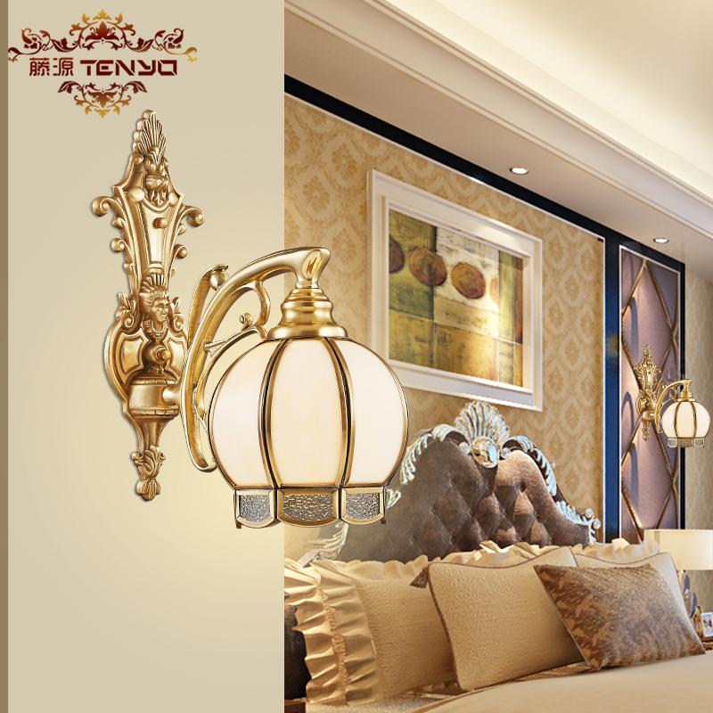 European-style full copper wall lamp American living room wall lamp bedroom bedside lamp corridor aisle staircase wall lamp american style vintage country wall lamp copper lamp for corridor aisle