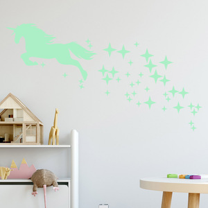 Image 4 - Luminous Stickers Cartoon Unicorn Horse Star Pattern Creative Carved Fluorescent Sticker Holiday Festival Lovely Wall Decal