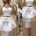 Blanco Corto Sexy Vestidos de Cóctel de Encaje con Cinturón de Oro 2017 Vestido de festa curto Peplumn Té Longitud de La Envoltura Del Partido de Tarde vestidos
