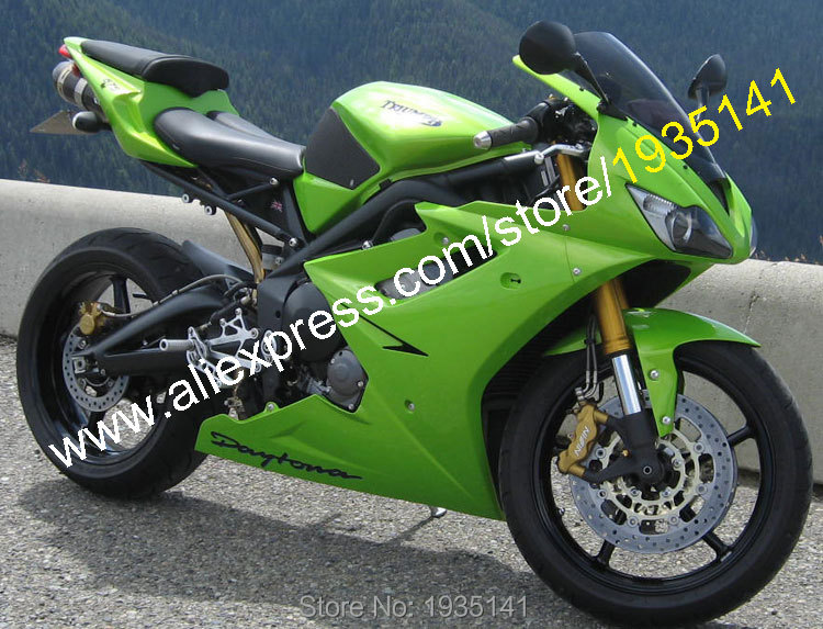 Hot Sales,For Triumph Daytona 675 Parts 2006 2007 2008 Daytona675 06 07 08 Full Green ABS Motorbike Fairing (Injection molding) hot sales for bmw k1200s parts 2005 2006 2007 2008 k1200 s 05 06 07 08 k 1200s yellow bodyworks aftermarket motorcycle fairing