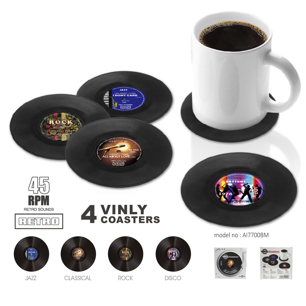 4pcs Retro Vinyl Record Drinks Coasters Table Cup Mat Home Decor Tableware Coffee Drink Placemat Tableware Accessories