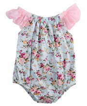 Newborn Infant Clothing 2016 Baby Girl Jumpsuit Summer Sleeveless Floral Printed Lace Girl On-piece Romper Outfits Sunsuit