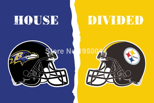 b8fad4e6 US $6.36 |Baltimore Ravens Pittsburgh Steelers Helmet House Divided Flag  3ft x 5ft Polyester NFL Banner Flying Size No.4 144* 96cm on Aliexpress.com  | ...