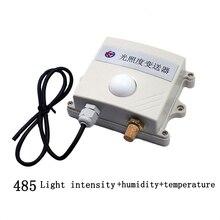 משלוח חינם 0 65535lux 3in1 אור עוצמת חיישן/RS485 modbus פרוטוקול טמפרטורה ולחות משדר חיישן עבור