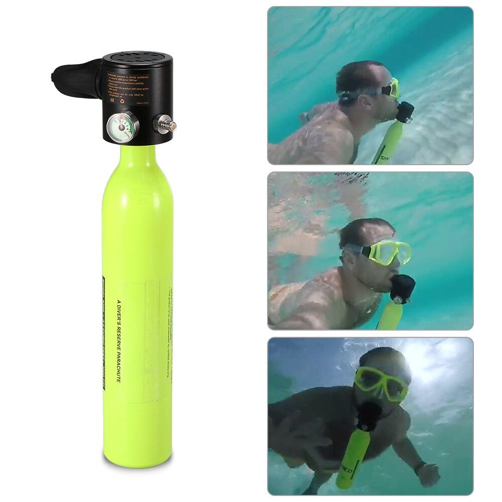 Diving Air Tank 0.5L Scuba Oxygen Cylinder Scuba Regulator Diving Respirator with Gauge Snorkeling Breathing Equipment