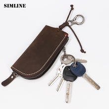 hot deal buy simline vintage handmade genuine leather key holder wallet men crazy horse zipper car key case cover organizer housekeeper bag