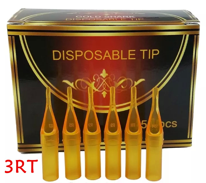 UPTATSUPPLY 3RT 50PCS/lot Round Disposable Yellow Plastic Tips Steriled Assorted Plastic Tattoo Tubes For Tattoo Supplies