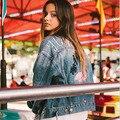 Últimas 2016 Invierno Bolsillos Short Básico Chaquetas Otoño Bordado Damas Capa de la Chaqueta de Mezclilla Casual Jeans Chaqueta de Las Mujeres prendas de Vestir Exteriores