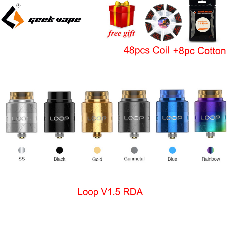 все цены на Free Gift Geekvape Loop V1.5 RDA Vape 24mm Single/dual Coil Building with Laser Tattoo W-shaped Build Deck VS Zeus Dual RTA